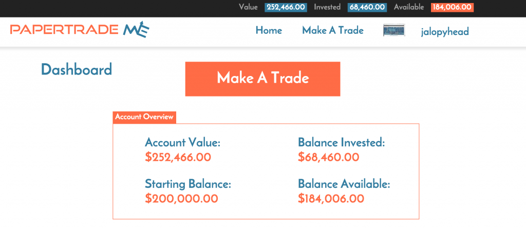 ScreenShot PaperTradeMe